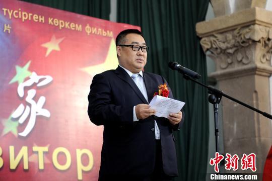 图为《音乐家》总策划和出品人、中国闪亮影业董事长沈健发言。 田进 摄