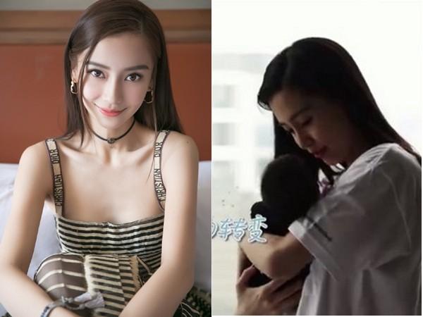 Angelababy19日带小海绵搭机回北京。