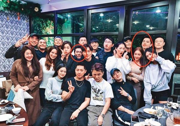 王大陆与Ivy(右红圈)去年底与友人聚餐,谢睿宸(左红圈)也在其中