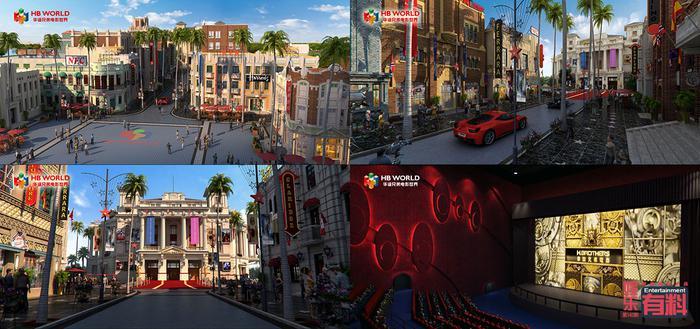 CG渲染效果图:星光大道俯瞰;星光大道;巨星影院外部;巨星影院内部。