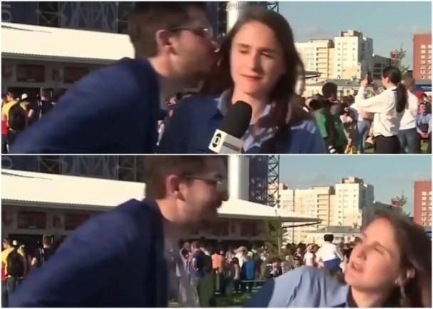 美女记者报道世界杯险遭强吻