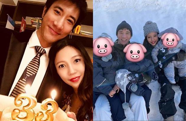 王力宏与李靓蕾育有2女1子。