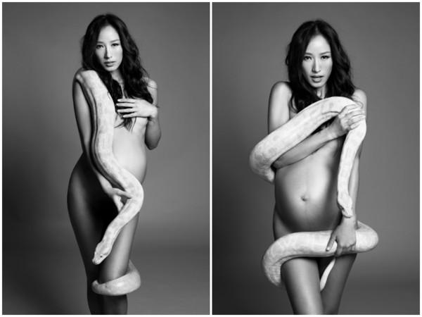 蒋怡怀孕拍照写真。