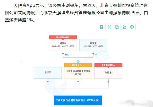 刘强东与章泽天共同成立公司