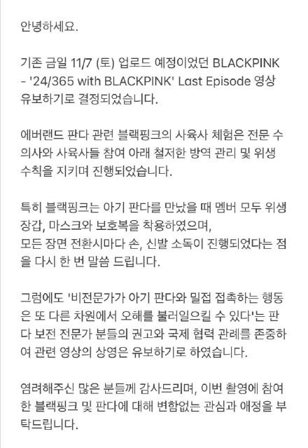 YG回应blackpink违规接触熊猫:新一期团综不播