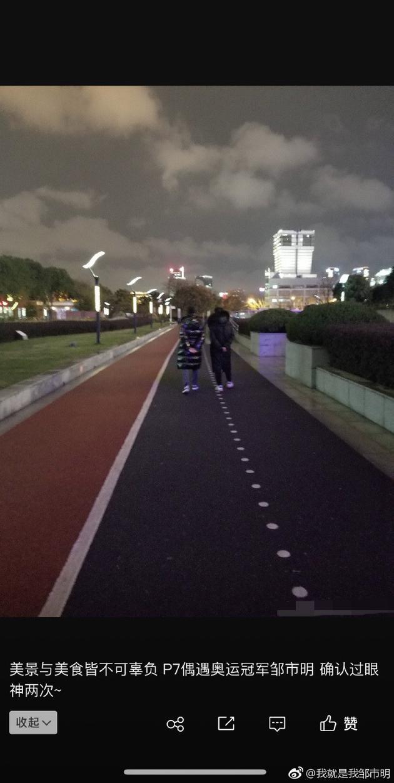 邹市明与爸爸散步