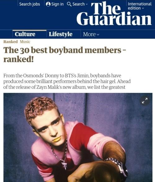 英国卫报评选的历代最佳男团成员TOP30