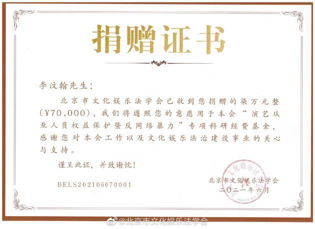 李汶翰捐七万名誉权胜诉赔偿金 用于反网暴基金