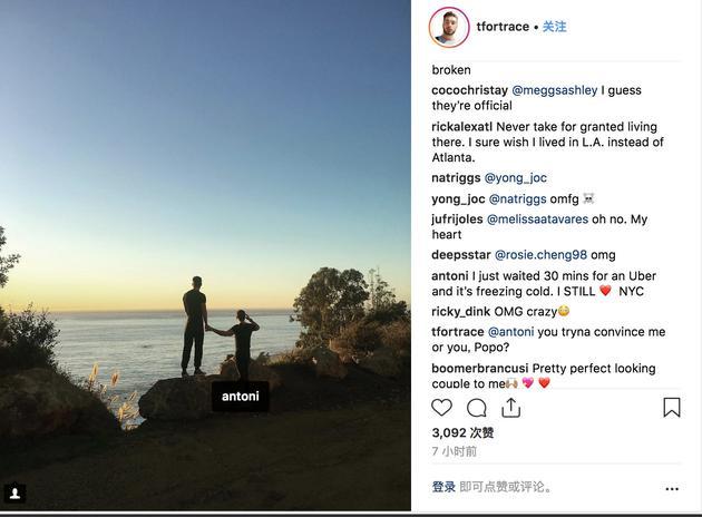 男友Trace Lehnhoff也发布了两人的相符照