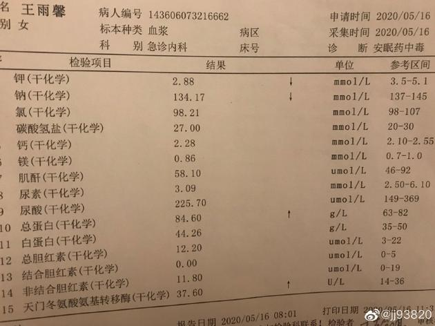 王雨馨诊断书