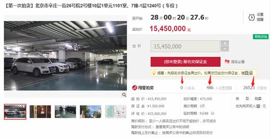 甘薇北京豪宅拍卖半个月无人问津