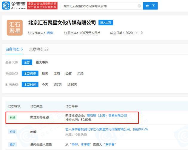 李宇春新成立贸易公司 公司注册资本1000万元