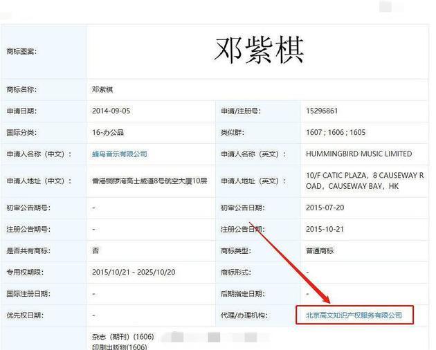 网友贴出邓紫棋商标资讯