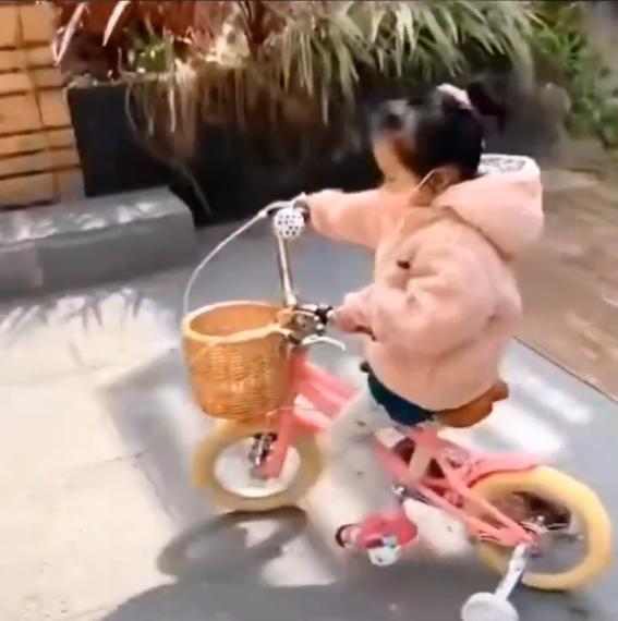 陈赫女儿安安骑车