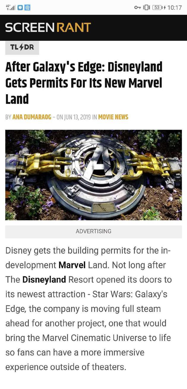 迪士尼獲漫威樂園建築許可