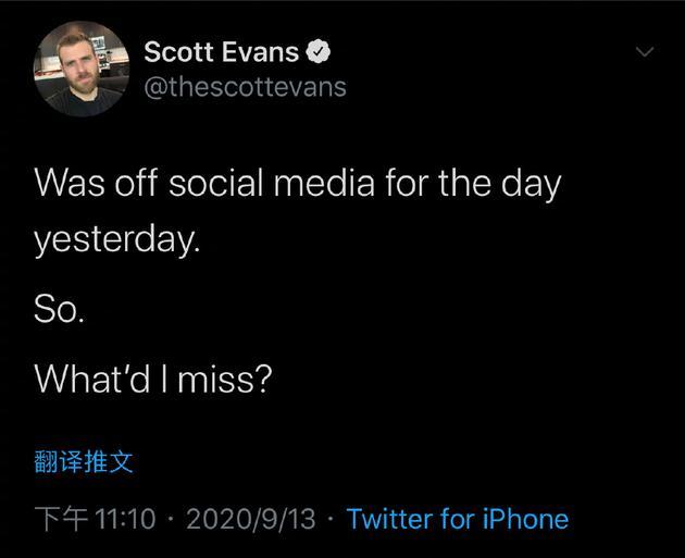 斯科特·埃文斯社交媒体发布内容