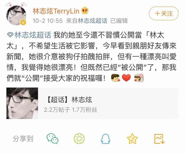 林志炫公開已婚