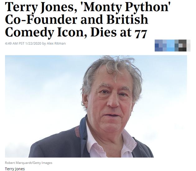 英国喜剧演员Terry Jones去世