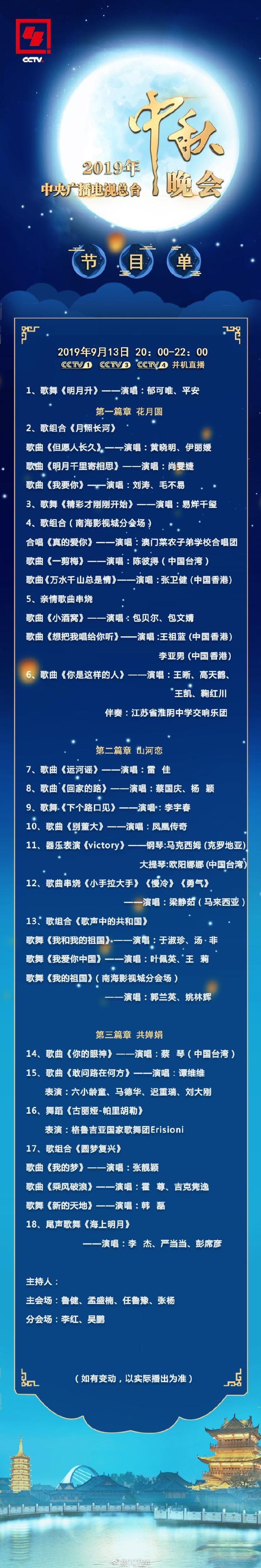 央视中秋晚会节目单公布 千玺李宇春梁静茹献唱
