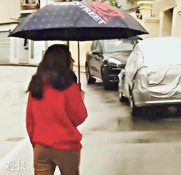 张柏芝在社交平台上载担着雨伞在街上的照片,网民劝她赶快回家。