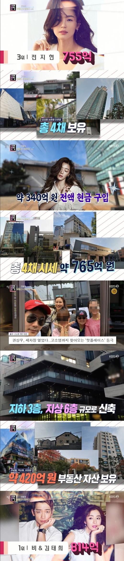 韩国演艺界房产富豪榜