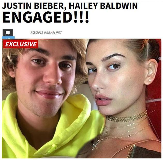 国外媒体曝料贾斯汀·比伯与海莉·鲍德温已于当地时间7月7日晚订婚