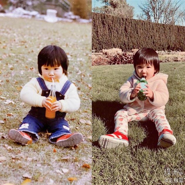 王祖蓝晒女儿与老婆童年照对比图