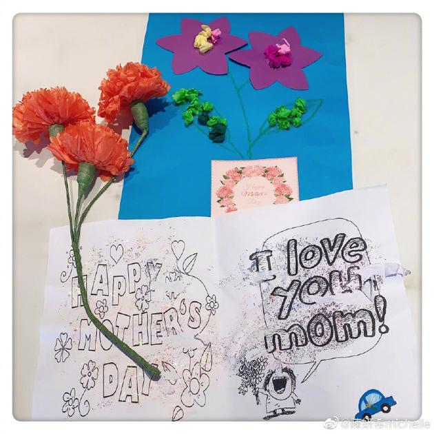陈妍希第一次收到母亲节礼物 星星手绘卡片很用心