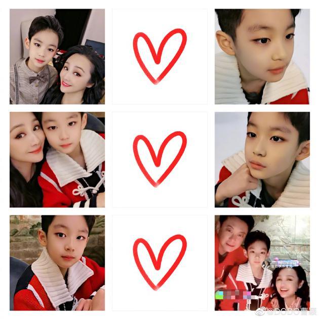 曹颖温馨为儿子庆生 十岁王子大眼睛高鼻梁帅气