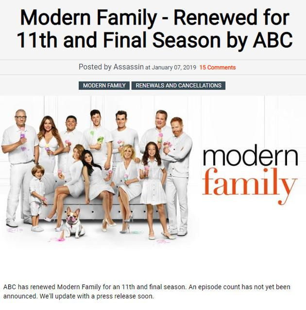 ABC續訂《摩登家庭》第11季