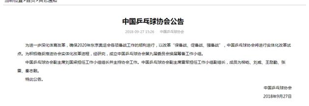 中国乒乓球协会官方网站公告
