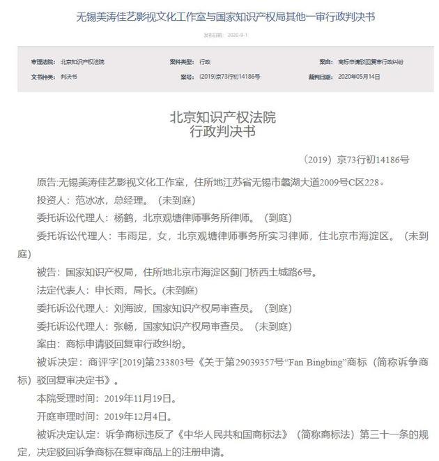 范冰冰注册商标被驳回 起诉国家知识产权局胜诉