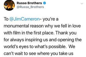 罗素兄弟发文回应卡梅隆祝贺:期待您的新作