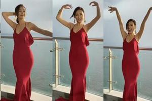 高海宁穿一袭红裙露玉背 即兴起舞自娱心情大好