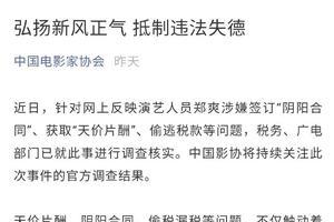 中国影协就郑爽涉嫌偷税漏税发声:抵制违法失德