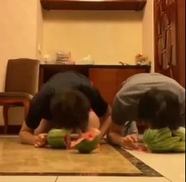 张国伟王彦霖合体表演头劈西瓜