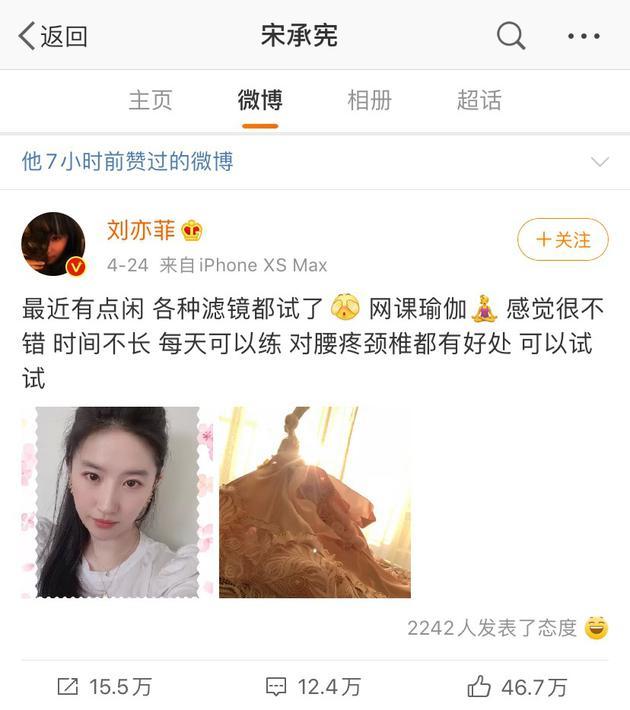 宋承宪点赞刘亦菲自拍