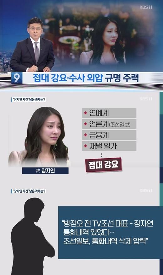 KBS电视台《9点讯休》报道TV CHOSUN电视台前任代外方正梧涉张紫妍案