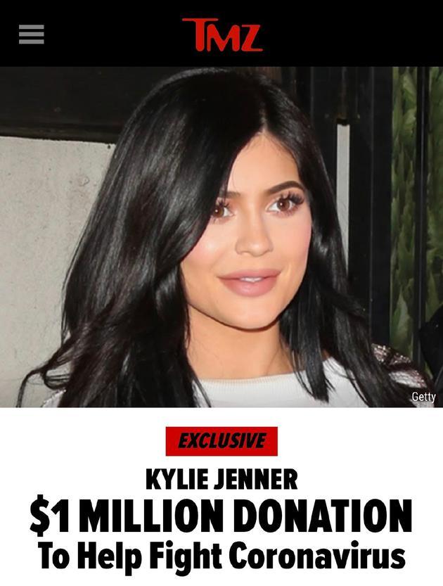 Kylie Jenner捐百萬美元抗擊肺炎