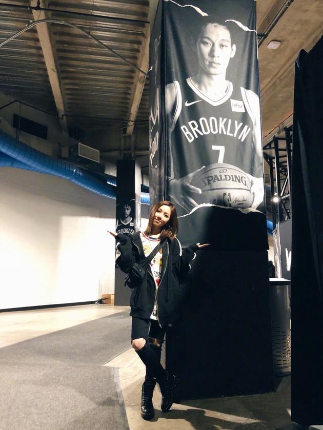 邓紫棋去看NBA比赛