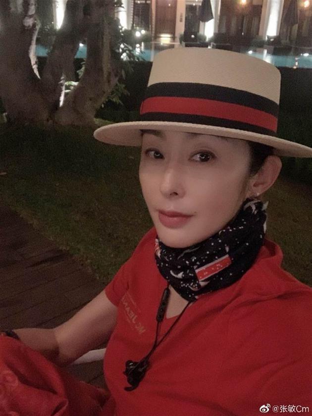 张敏2月曾在微博公开过正面照