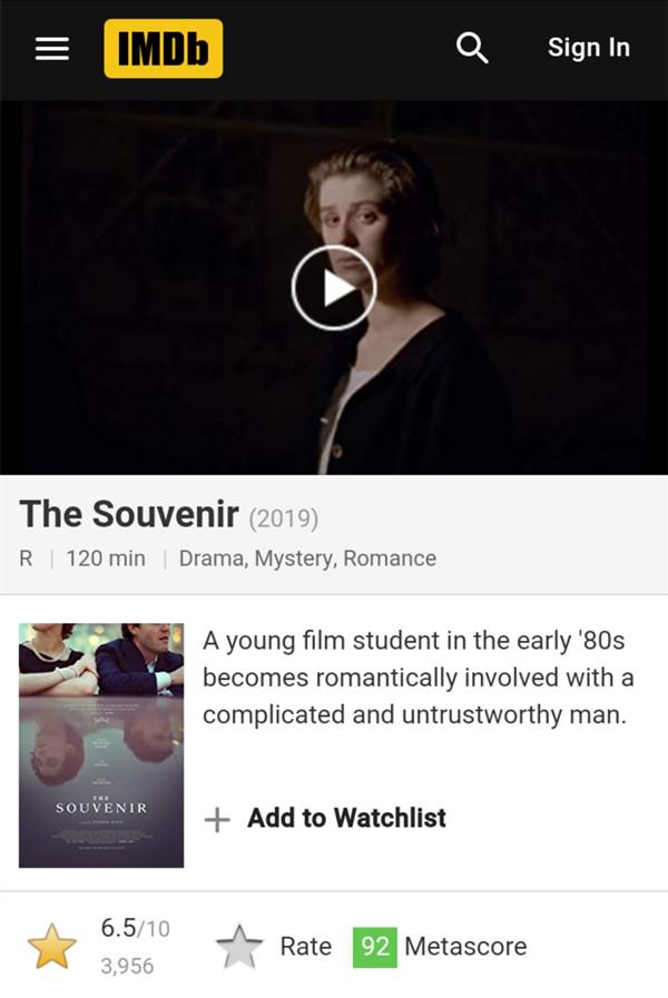 《紀念品》IMDb評分6.5
