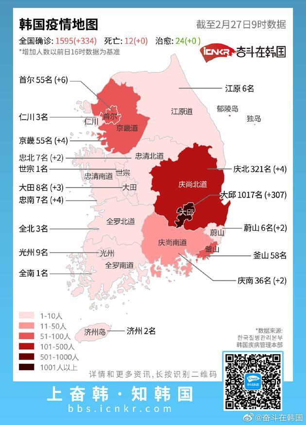 最新韩国新冠肺炎疫情地图(截至2月27日韩国时间10点官方数据)
