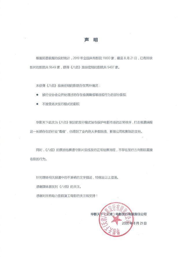 华谊辟谣《八佰》霸王条款:旨在保护市场秩序
