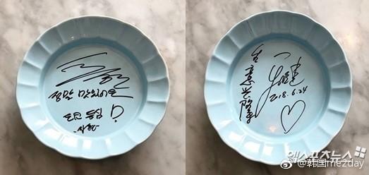 某餐饮店透露秋瓷炫于晓光曾光临并公开了这对夫妇的亲笔签名。