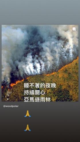 梁静茹深夜为亚马逊雨林火灾祈祷:我的心很痛