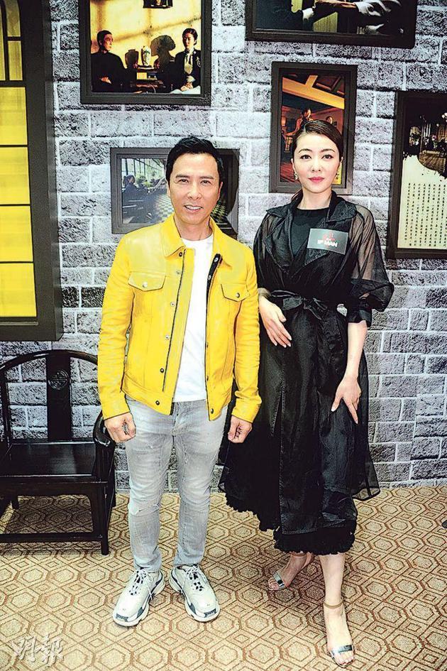甄子丹(左)和熊黛林(右)昨天(3月18日)出席《叶问4》发布会。