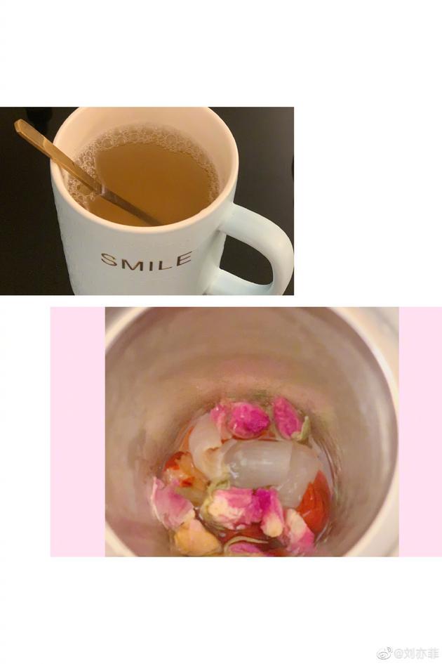刘亦菲晒花茶