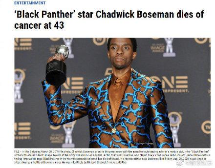 黑豹男主因癌去世享年43岁 家人发声明称其是斗士