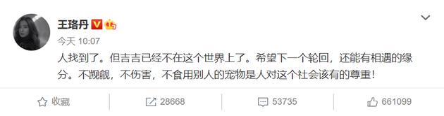 王珞丹再度发文,称人已找到,鸭子已不在世